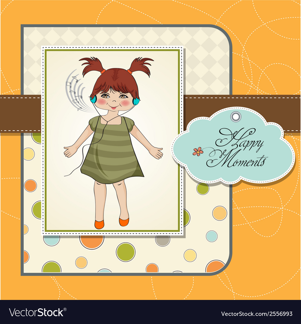 Young girl listening to music on headphones and vector | Price: 1 Credit (USD $1)