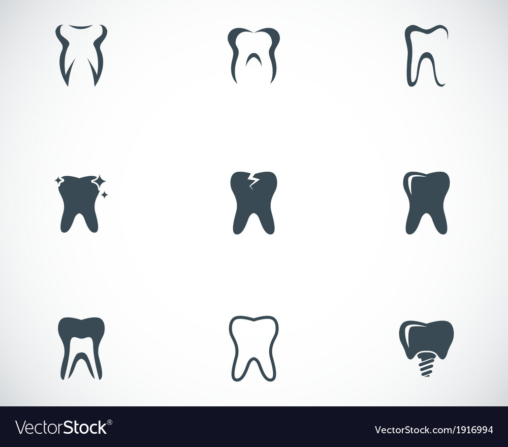 Black teeth icons set vector | Price: 1 Credit (USD $1)