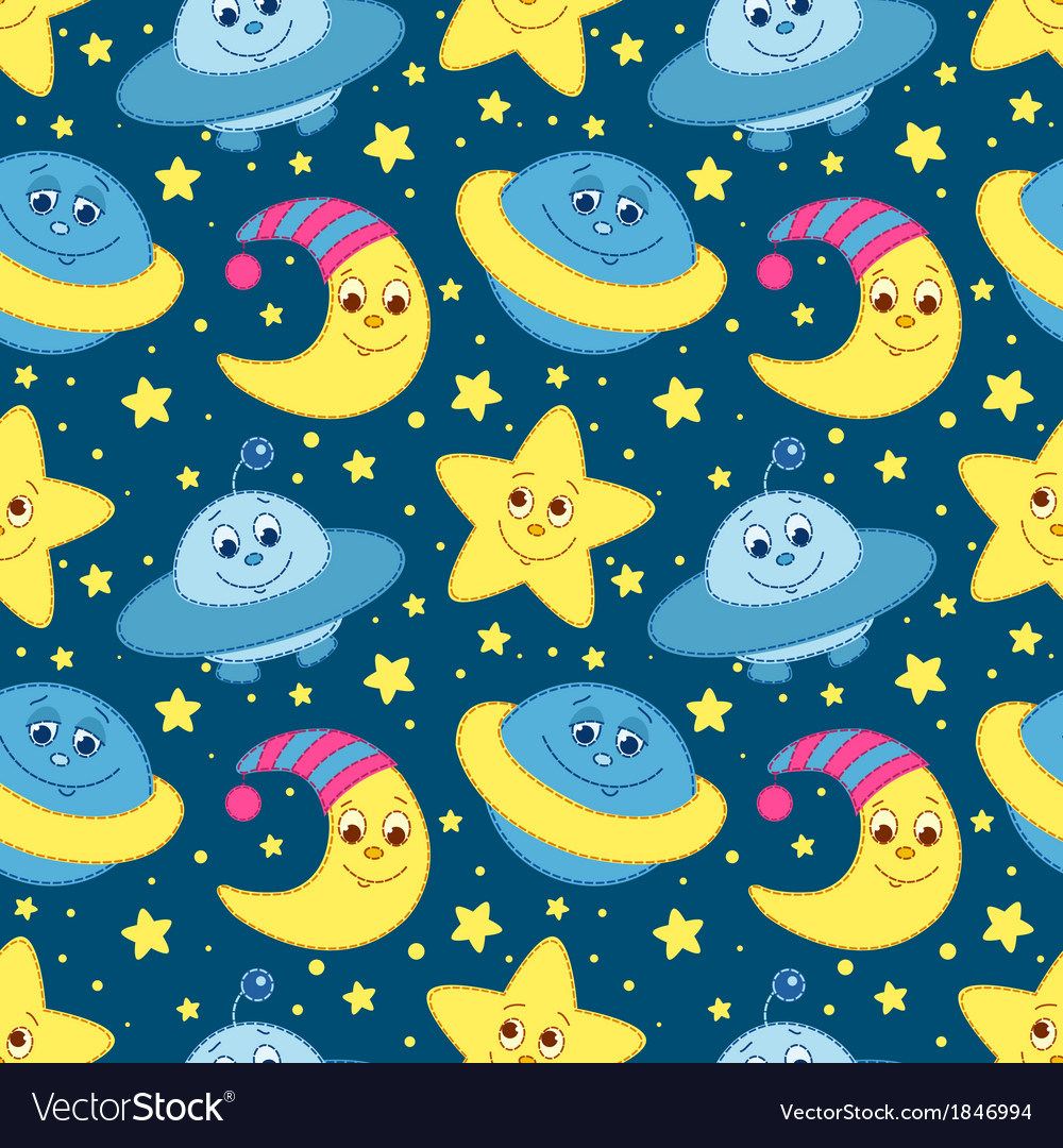 Children space pattern blue vector | Price: 1 Credit (USD $1)