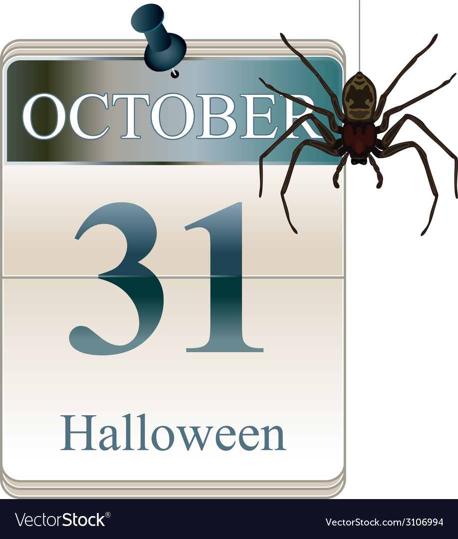 Halloween calendar with spider vector | Price: 1 Credit (USD $1)