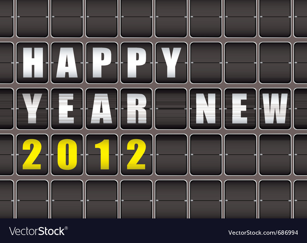 Happy new year railway ticker board vector | Price: 1 Credit (USD $1)