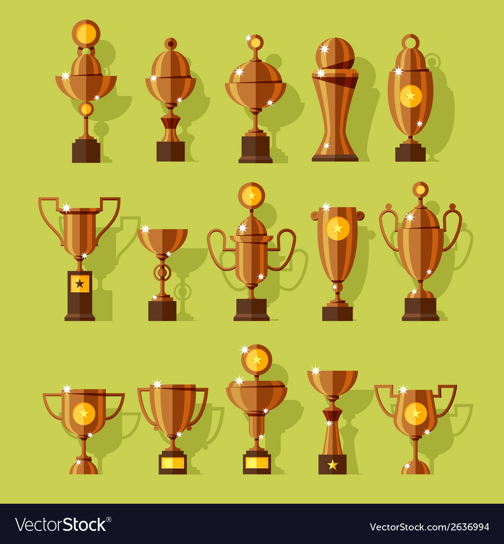 Icons set of silver sport award cups vector | Price: 1 Credit (USD $1)