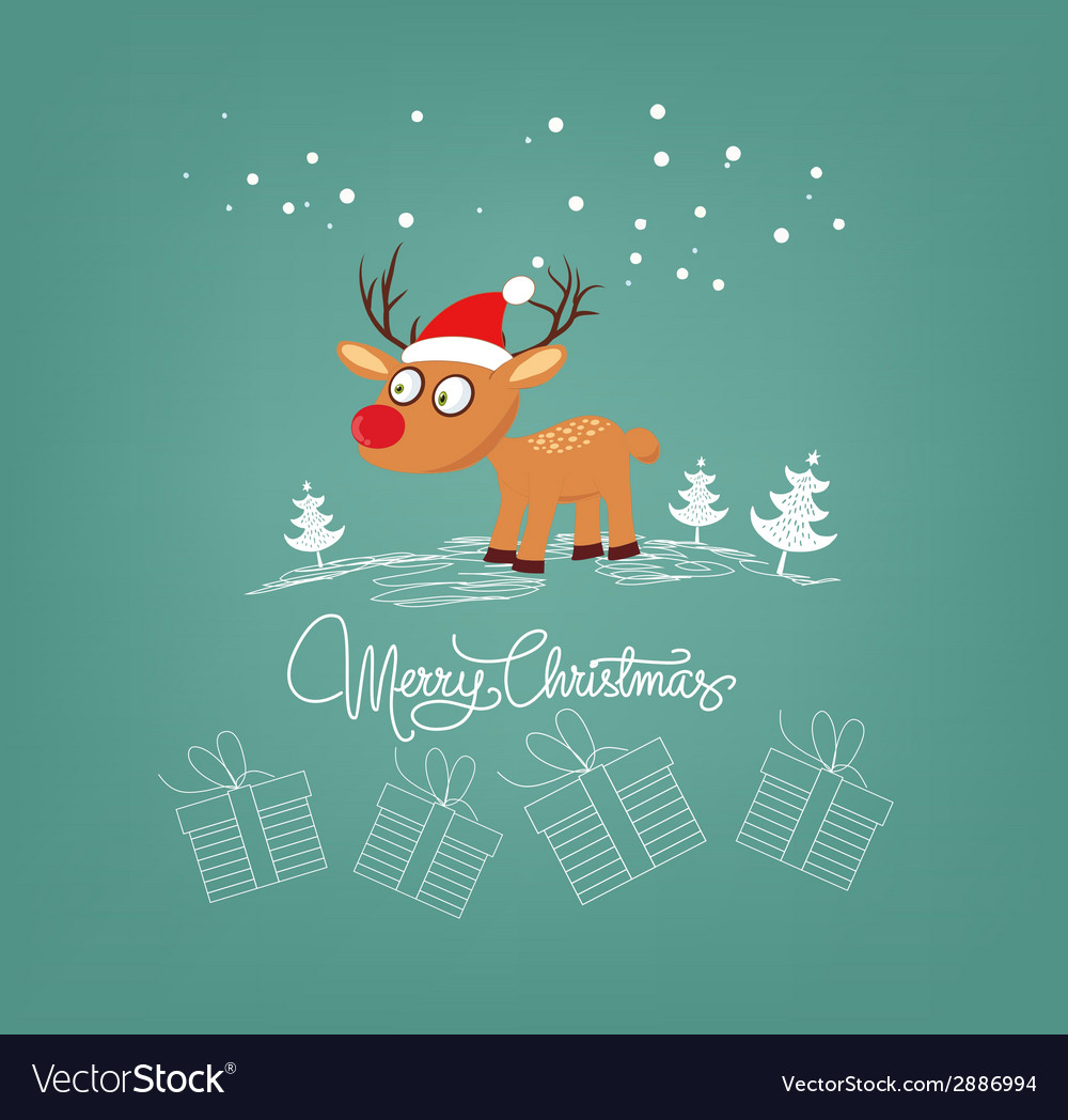 Merry christmas card with deer and gift vector | Price: 1 Credit (USD $1)