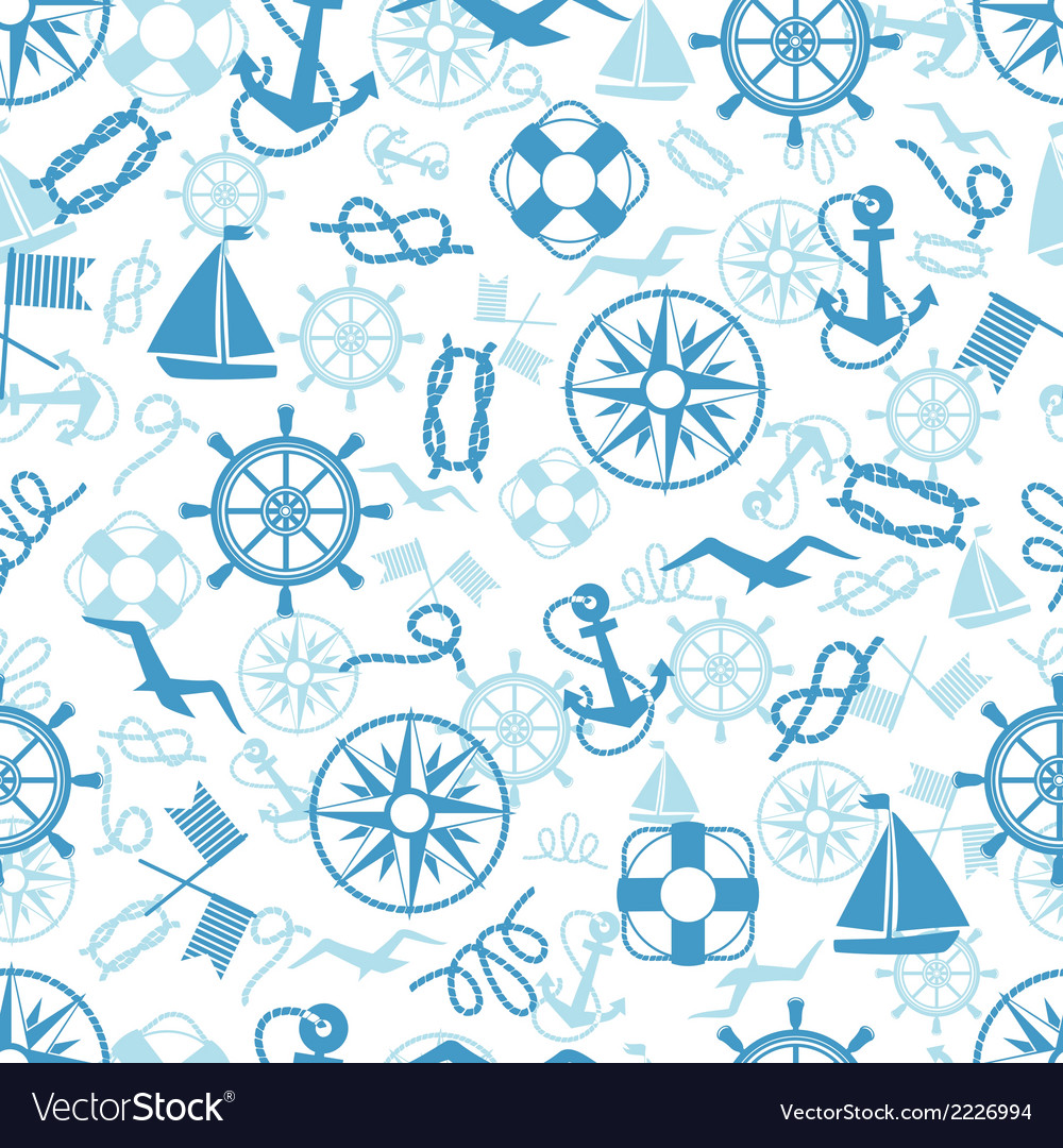 Nautical or marine themed seamless pattern vector | Price: 1 Credit (USD $1)