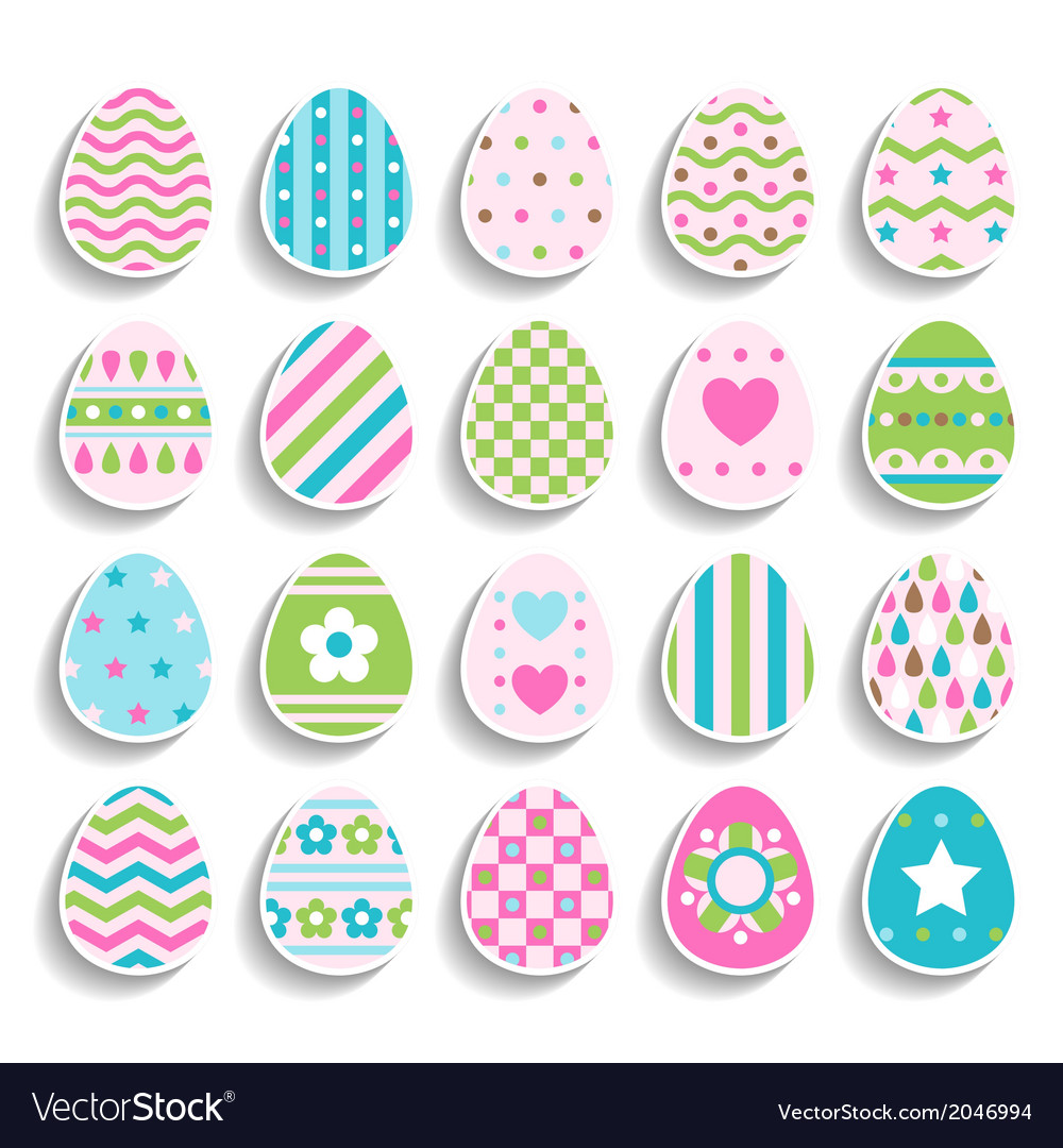Set of color easter eggs decorated of ornament vector | Price: 1 Credit (USD $1)
