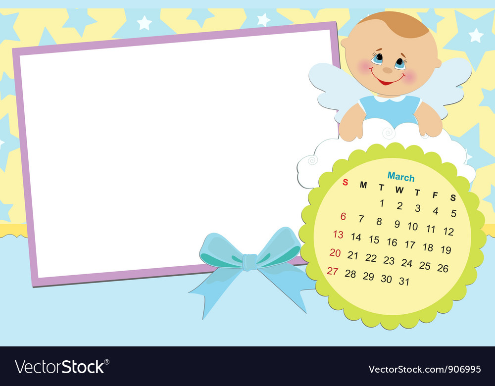 Babys calendar for march 2011 vector | Price: 1 Credit (USD $1)