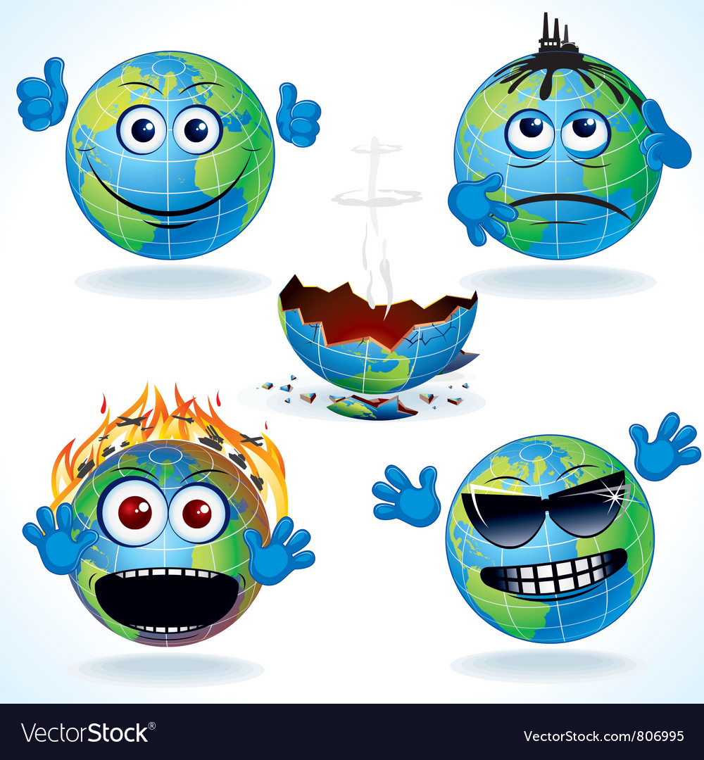 Cartoon earth icons vector | Price: 1 Credit (USD $1)