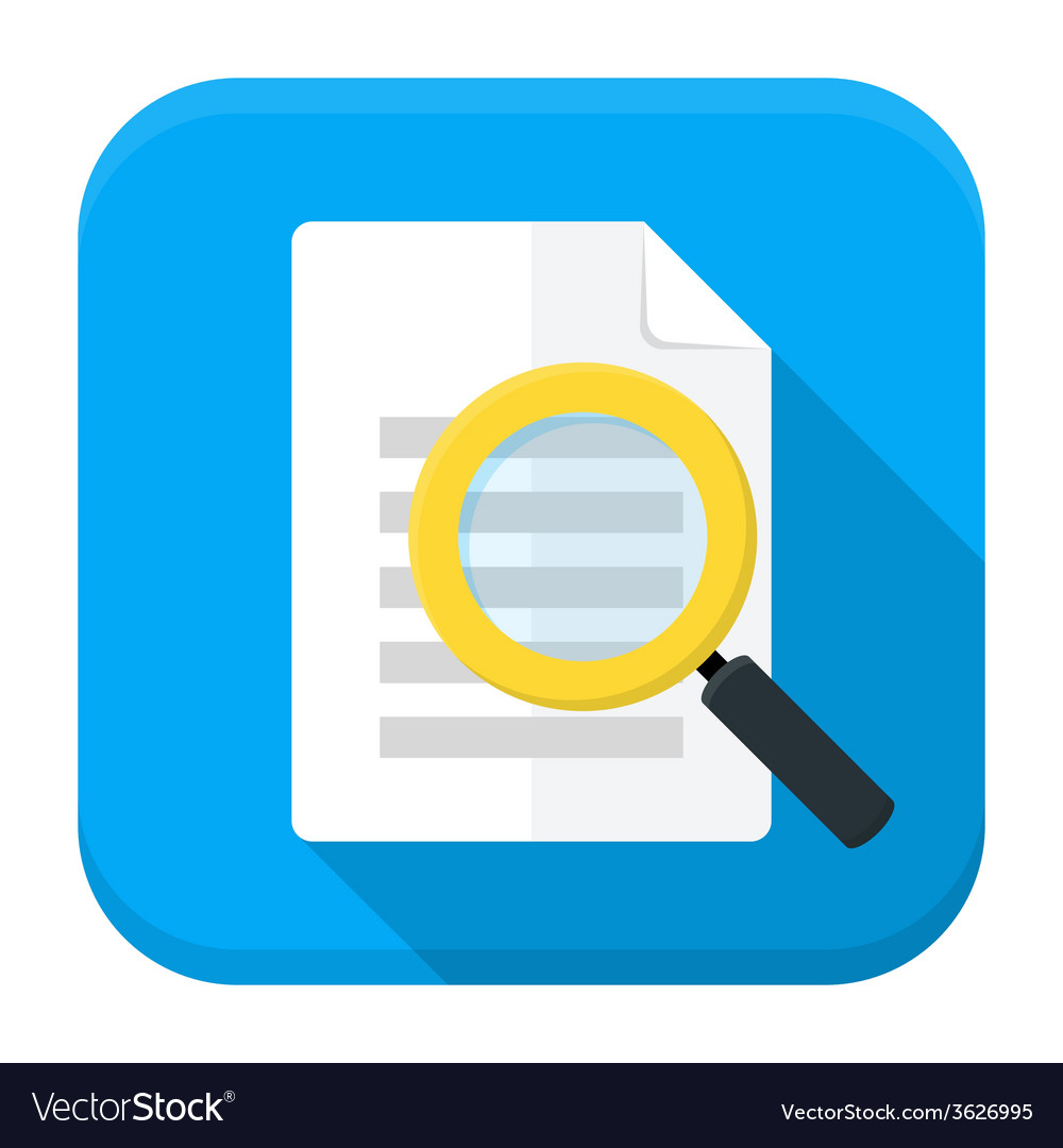 Document search app icon with long shadow vector