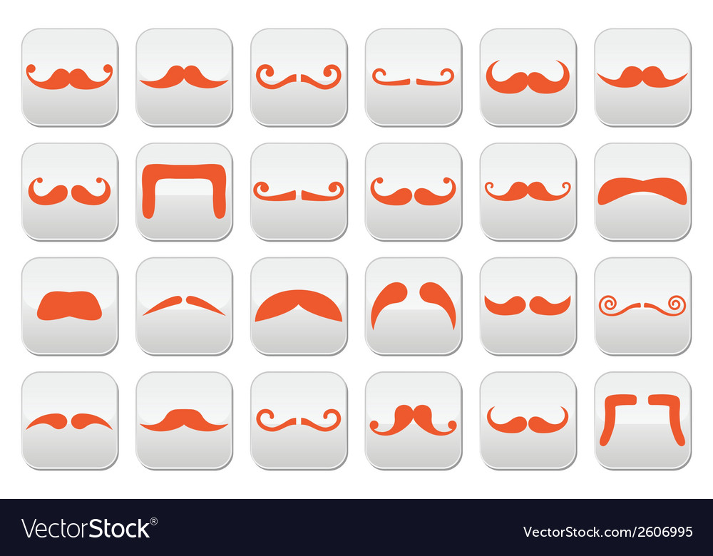 Ginger moustache or mustache buttons set vector | Price: 1 Credit (USD $1)