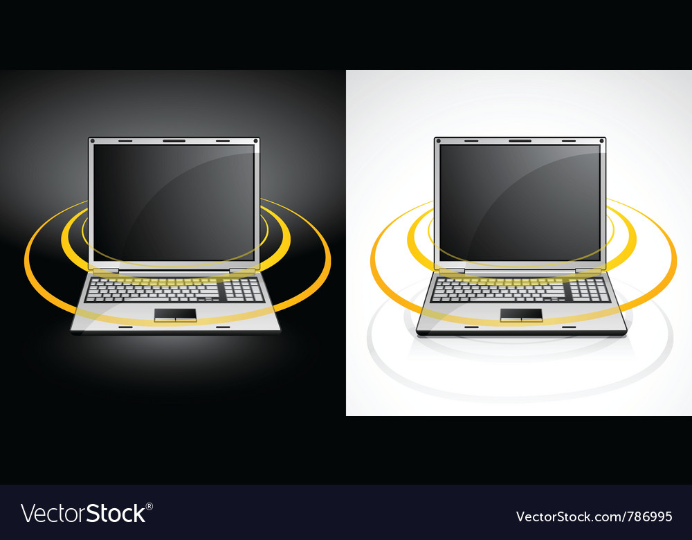 Laptops with wireless signal vector | Price: 3 Credit (USD $3)