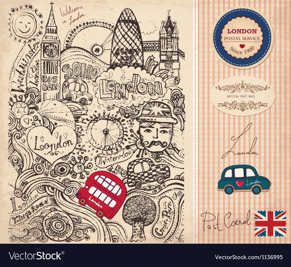 London postcard vector | Price: 1 Credit (USD $1)