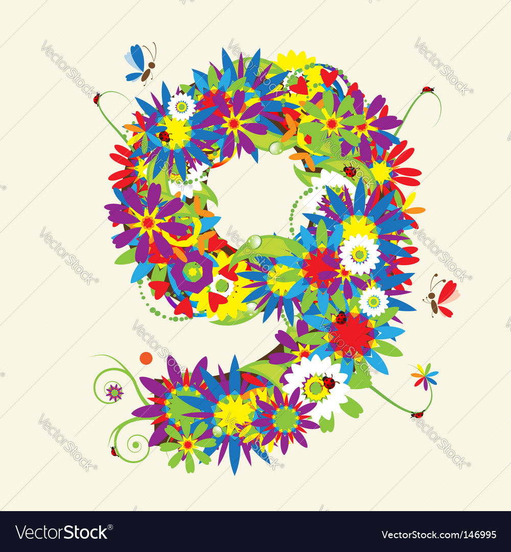 Number 9 floral design vector | Price: 1 Credit (USD $1)