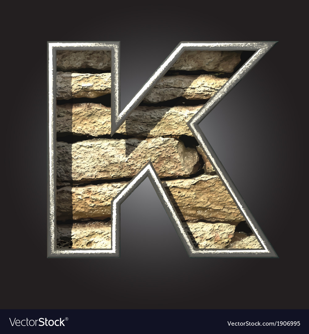 Old stone letter k vector | Price: 1 Credit (USD $1)