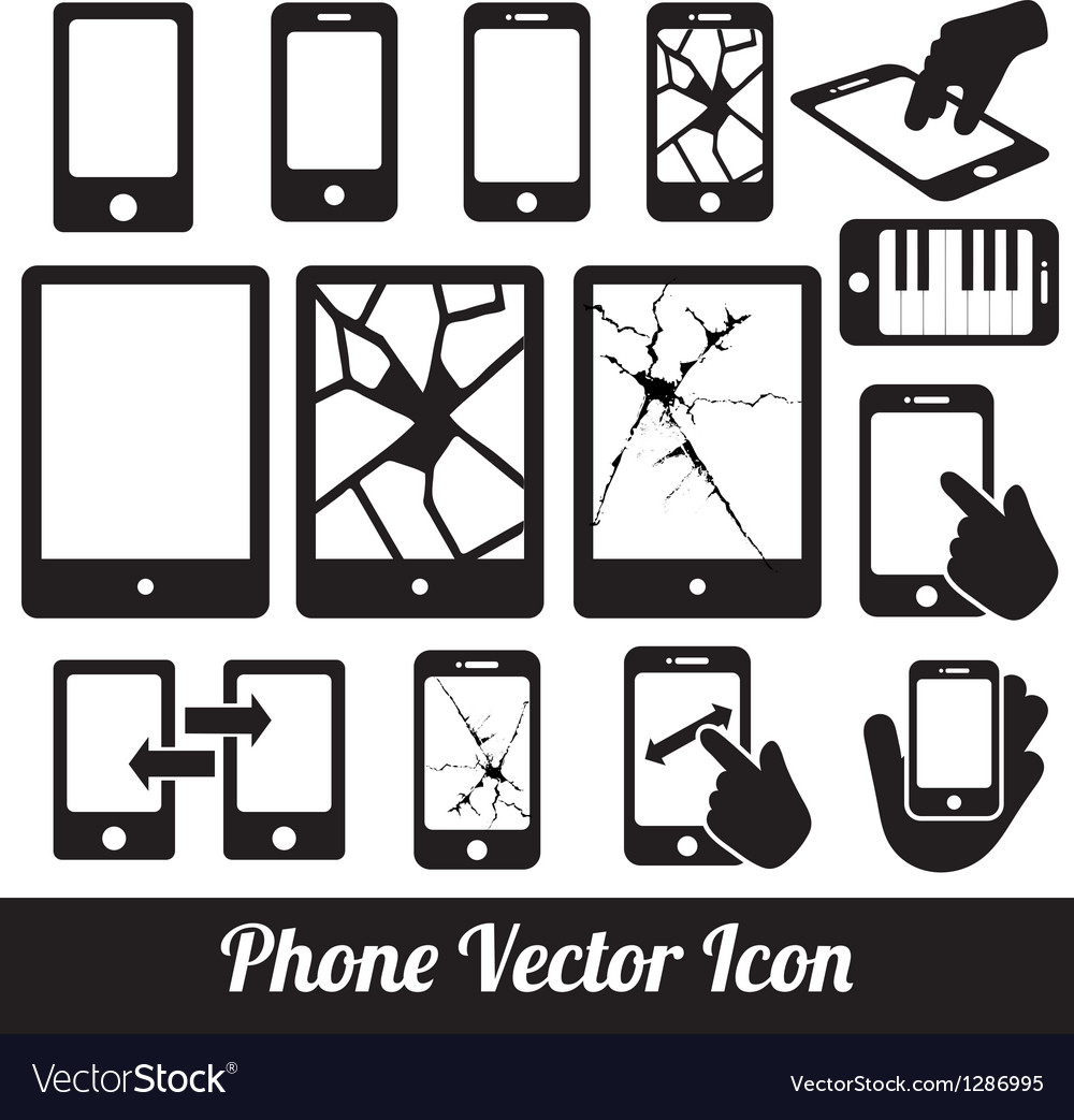 Phone touch communication icons vector | Price: 1 Credit (USD $1)