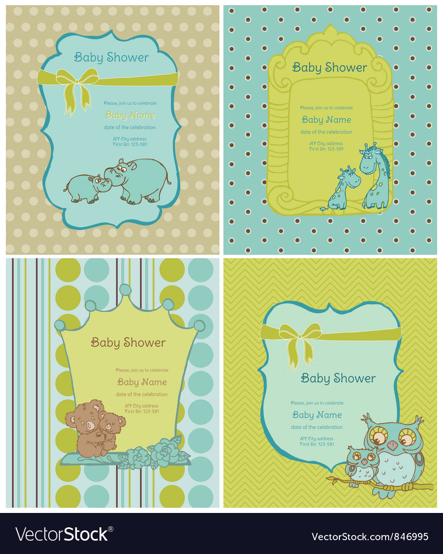 Set of baby shower cards vector | Price: 1 Credit (USD $1)