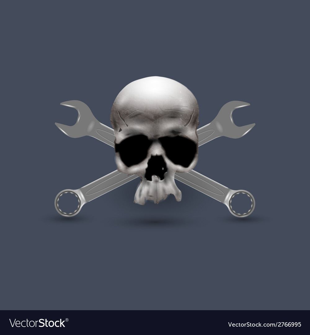 Skull human with spanners vector | Price: 1 Credit (USD $1)