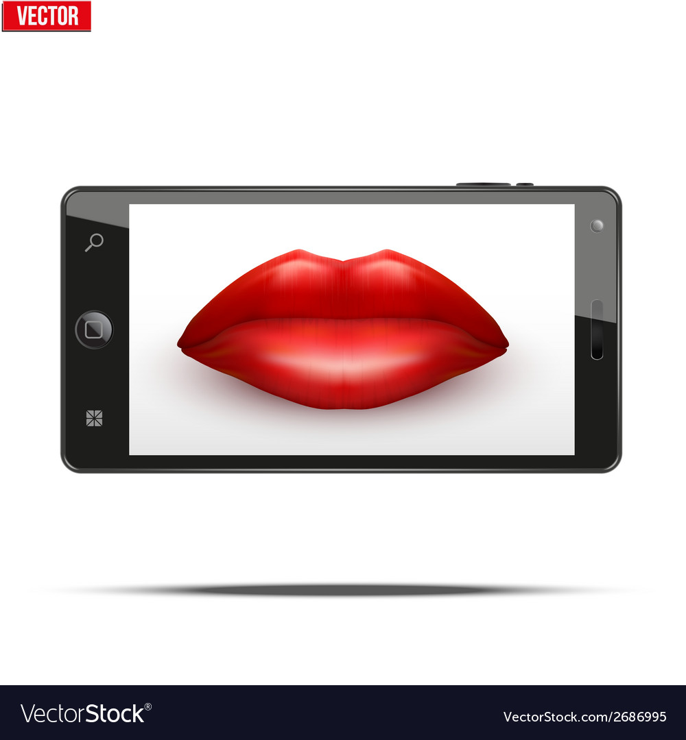 Smartphone with womens lips on the screen vector   Price: 1 Credit (USD $1)