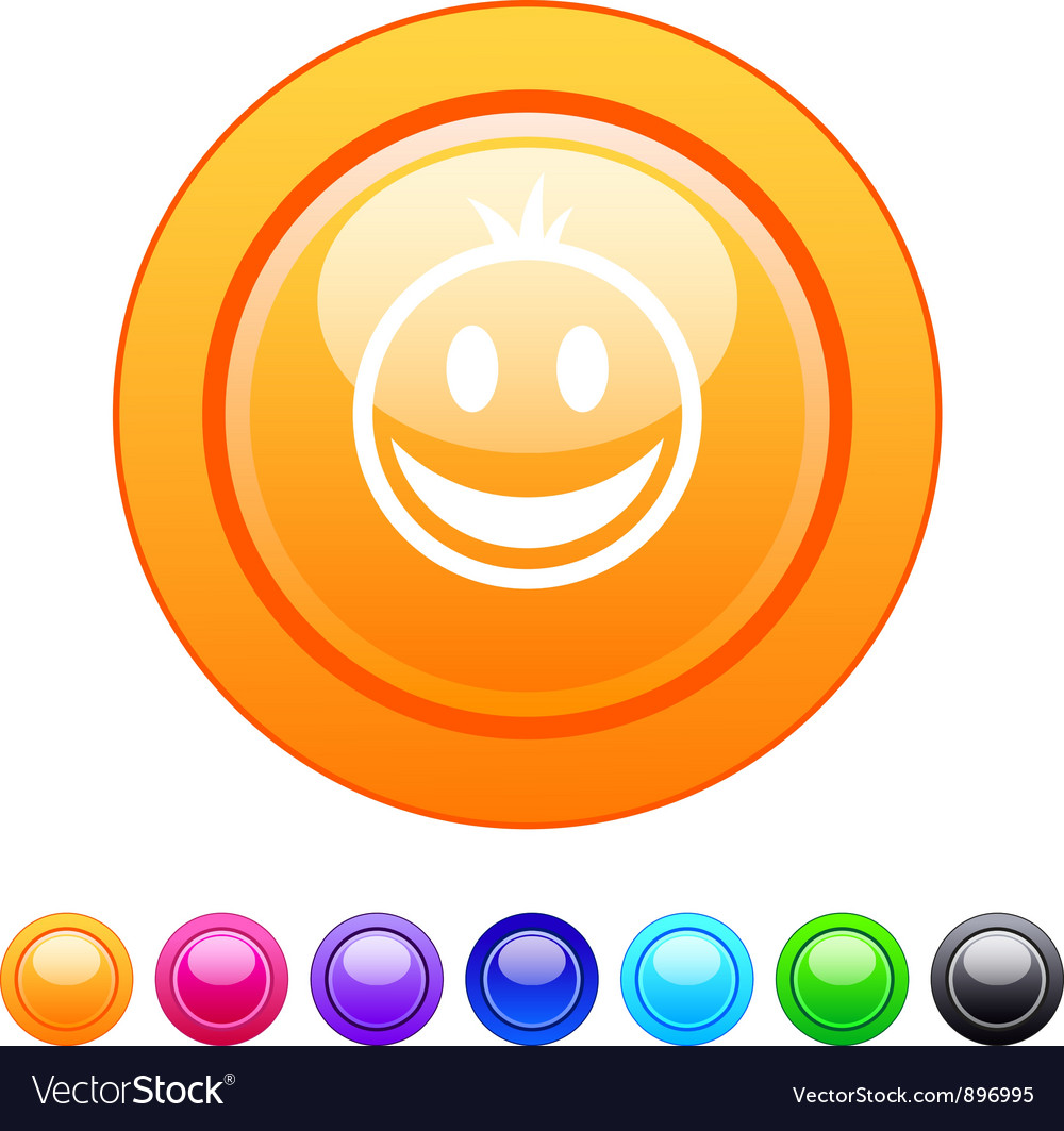 Smiley circle button vector | Price: 1 Credit (USD $1)