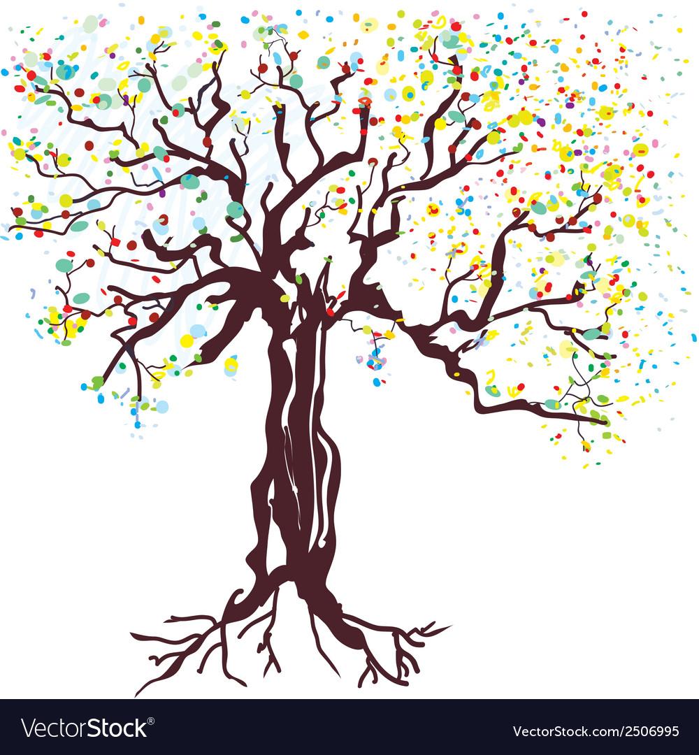 Tree at spring hand drawn vector | Price: 1 Credit (USD $1)