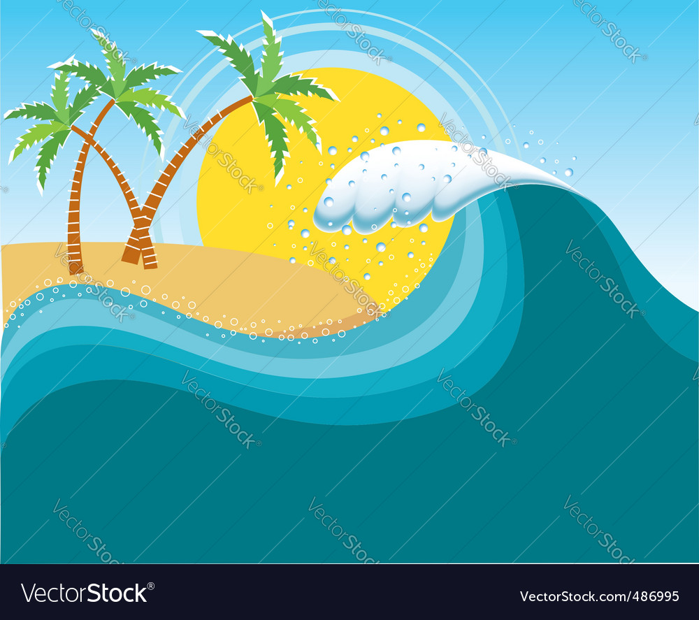Tropical island seascape vector | Price: 1 Credit (USD $1)