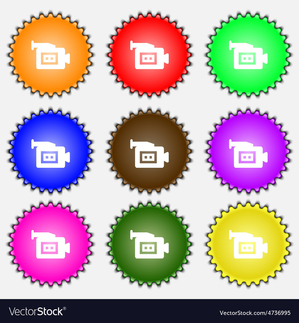 Video camera icon sign a set of nine different vector | Price: 1 Credit (USD $1)