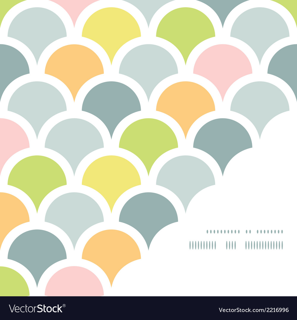 Abstract colorful fishscale corner frame pattern vector | Price: 1 Credit (USD $1)