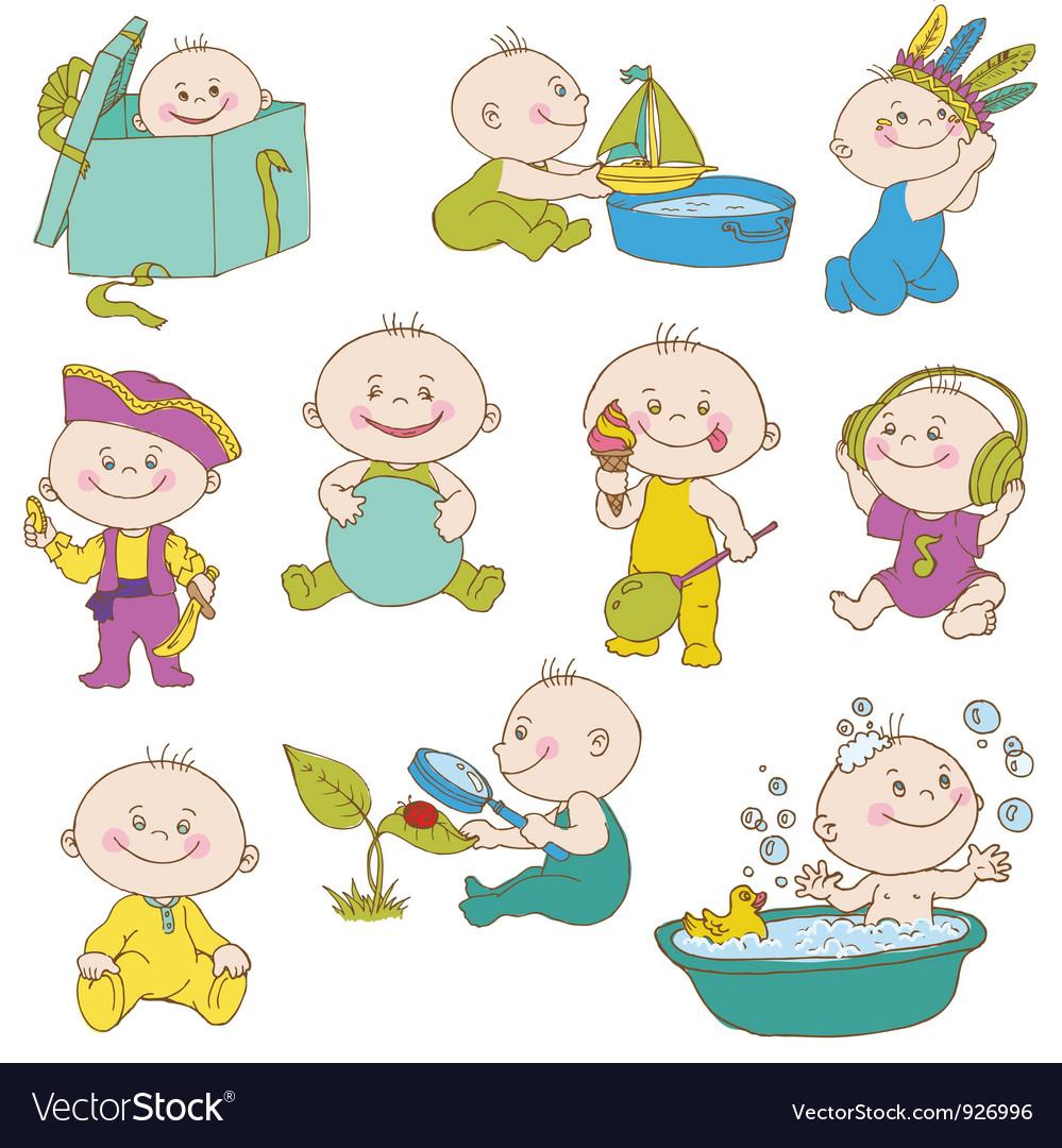 Baby boy doodle set vector | Price: 3 Credit (USD $3)