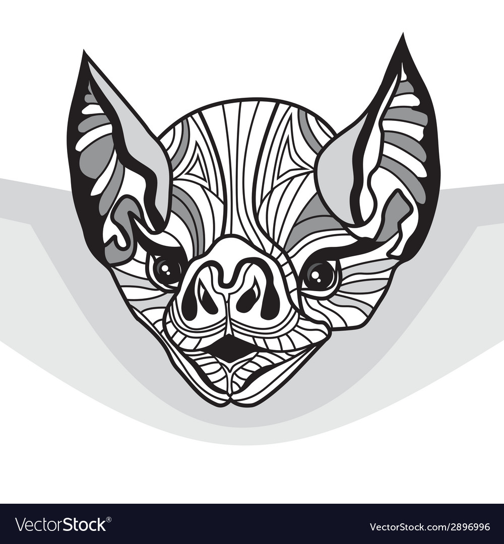 Bat head animal for t-shirt sketch tattoo vector | Price: 1 Credit (USD $1)