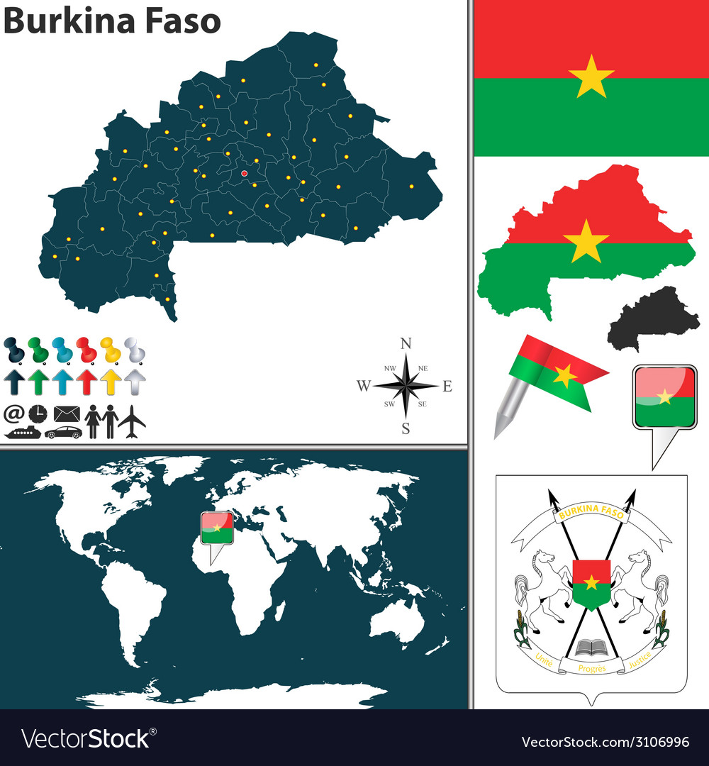 Burkina faso map world vector | Price: 1 Credit (USD $1)
