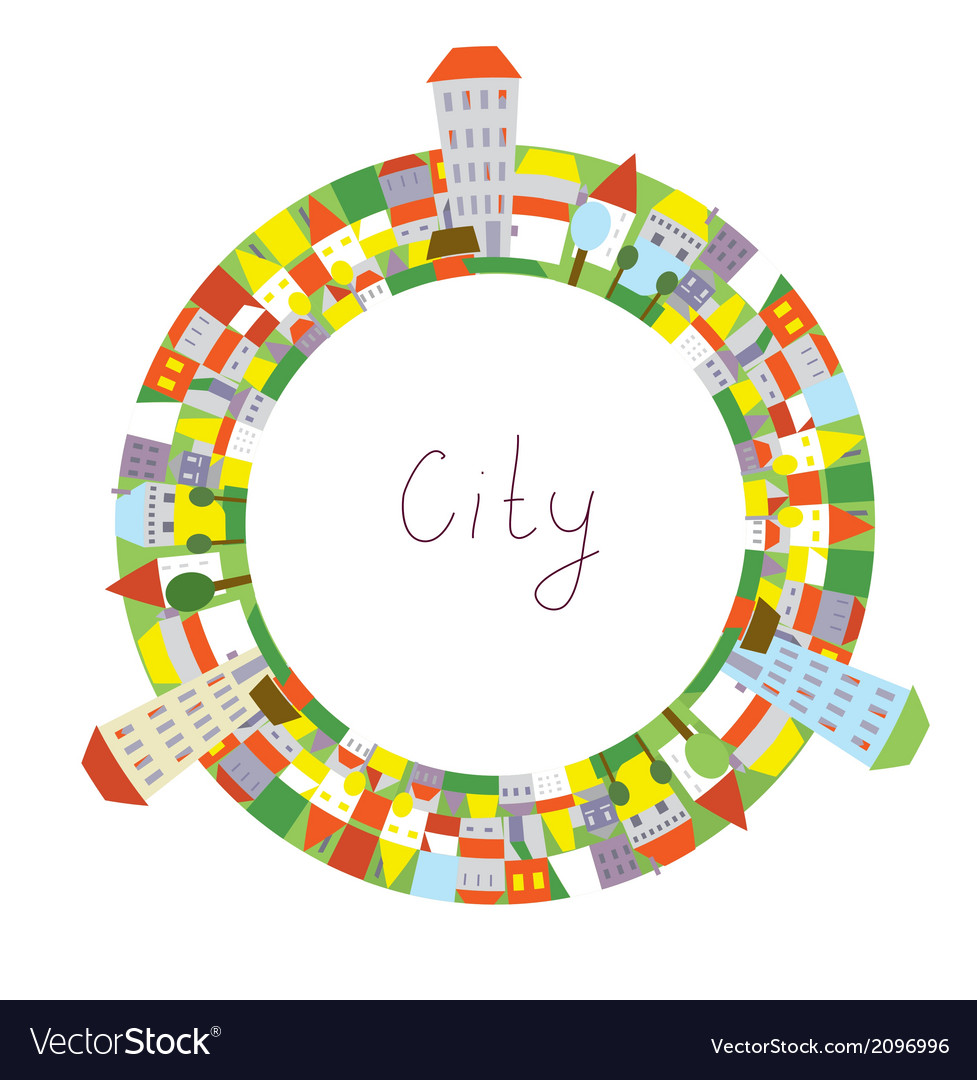Cartoon of city circle frame with funny houses vector | Price: 1 Credit (USD $1)