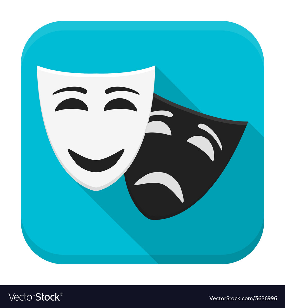 Drama mask app icon with long shadow vector | Price: 1 Credit (USD $1)