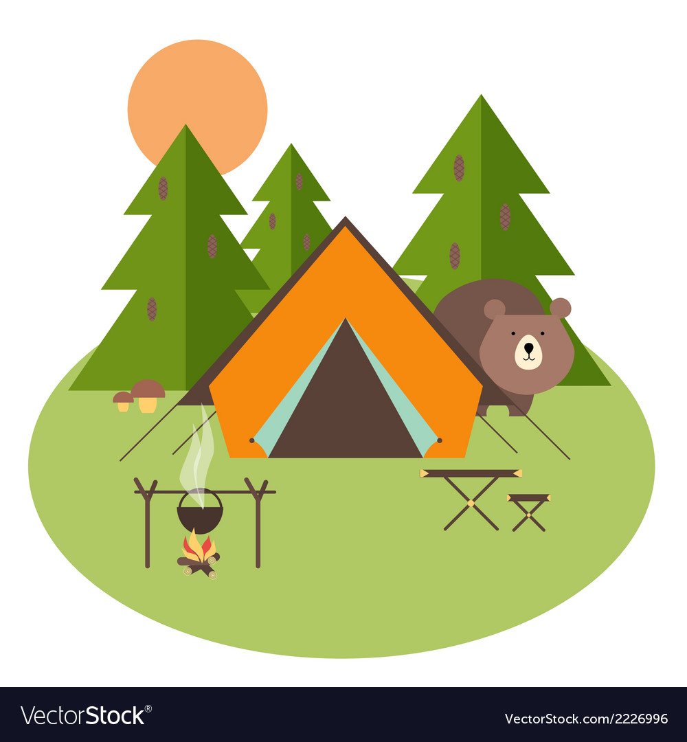 Forest camping vector | Price: 1 Credit (USD $1)