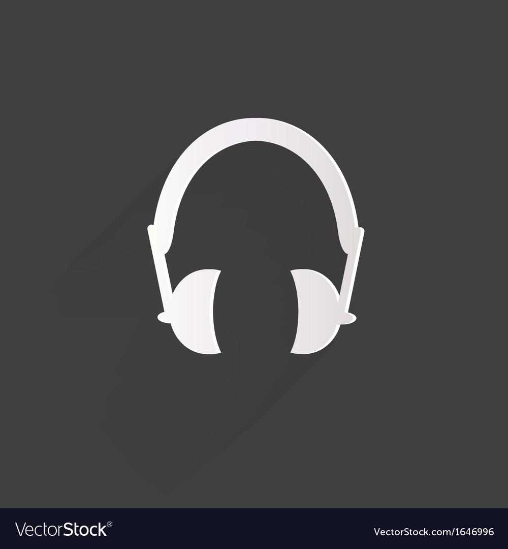 Headphones web icon flat design vector | Price: 1 Credit (USD $1)