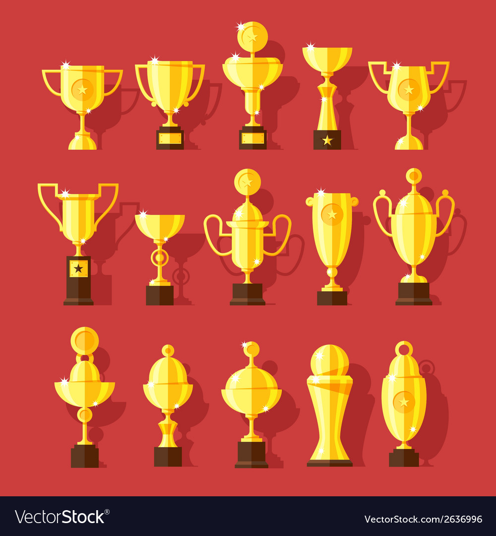 Icons set of golden sport award cups vector | Price: 1 Credit (USD $1)