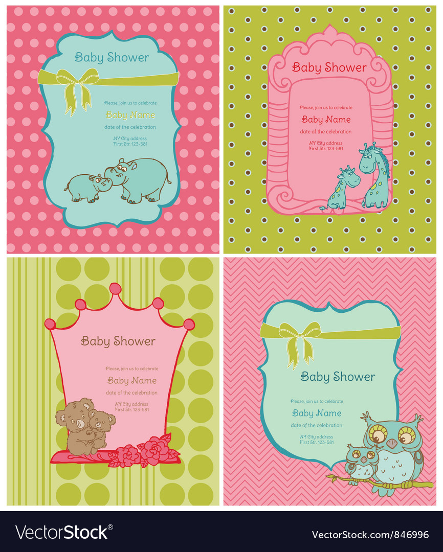 Set of baby shower cards vector