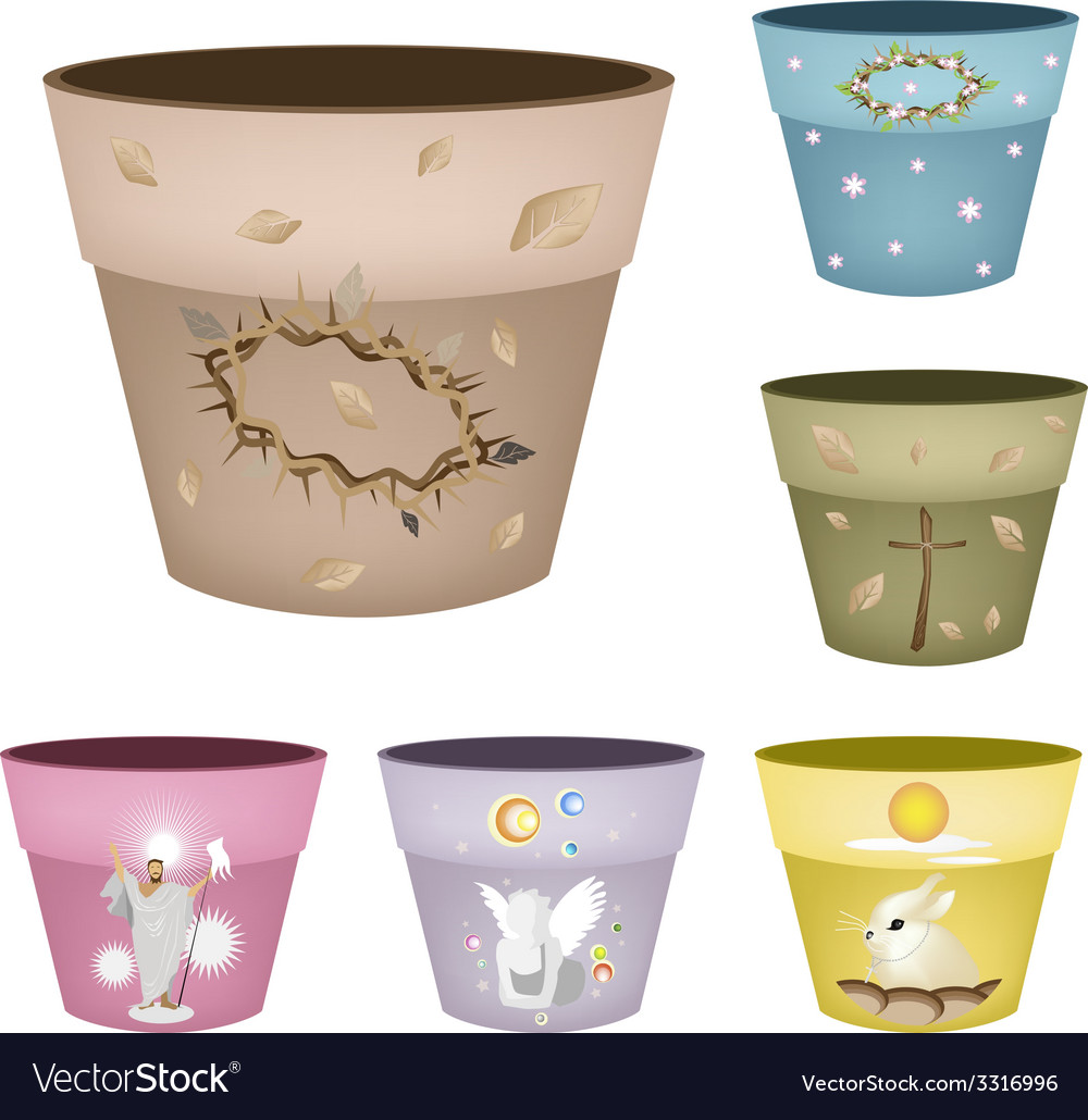 Set of decorative flower pots on white background vector | Price: 1 Credit (USD $1)