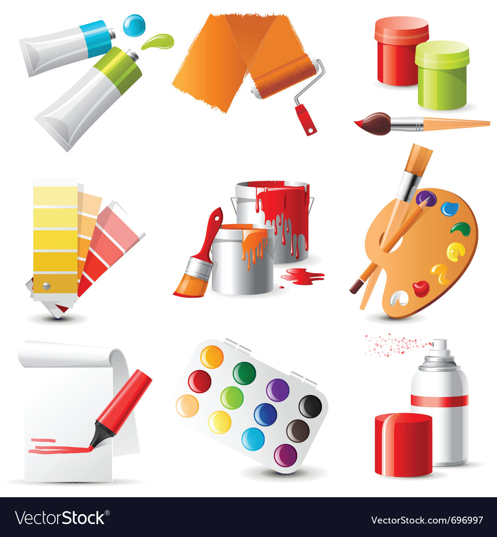 9 highly detailed artists supplies icons vector | Price: 1 Credit (USD $1)