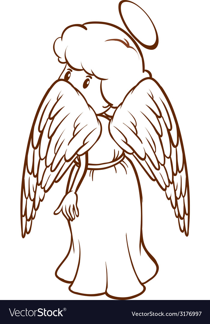 A plain sketch of an angel vector | Price: 1 Credit (USD $1)