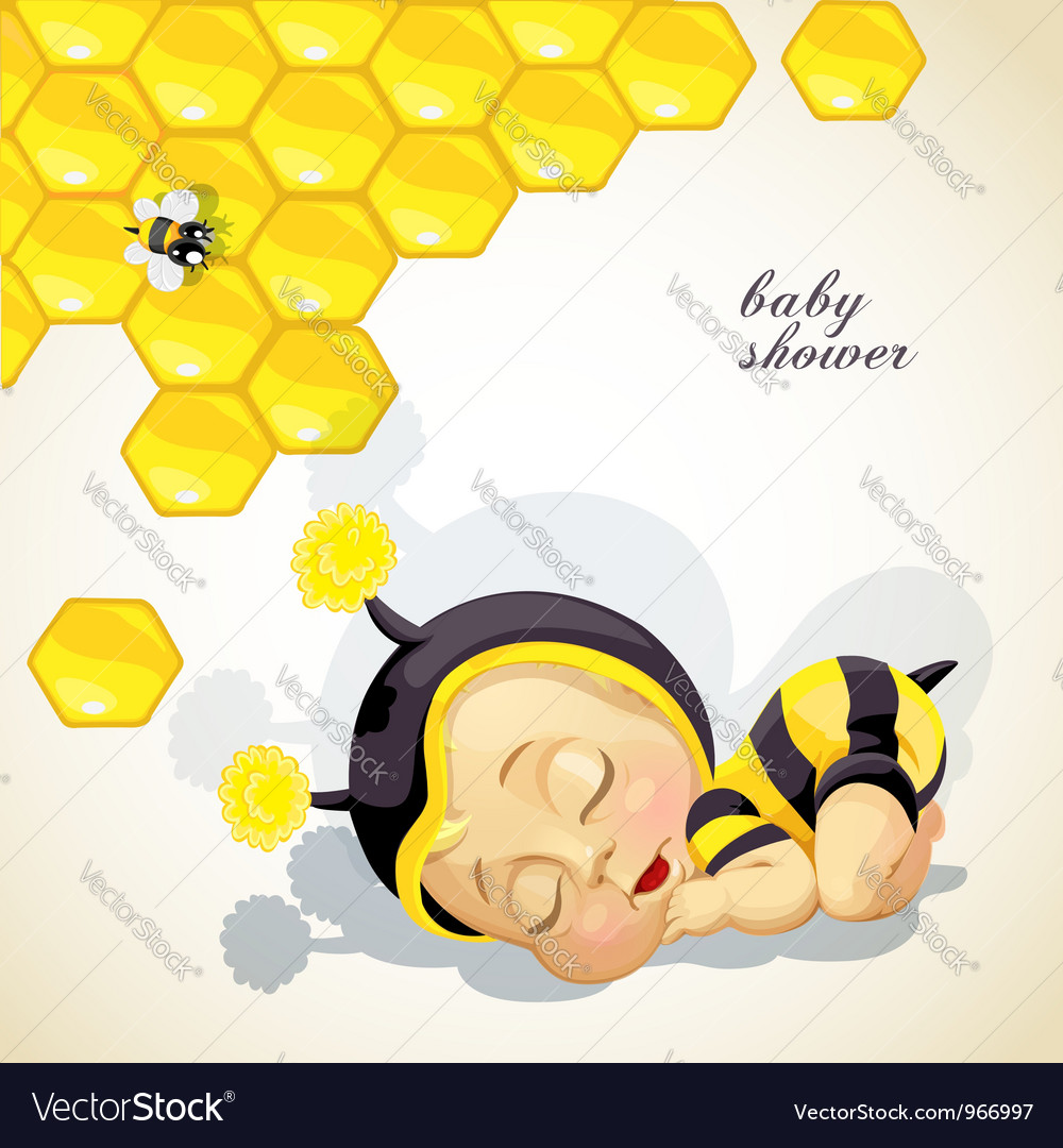 Baby shower card with newborn child dressed as bee vector   Price: 3 Credit (USD $3)