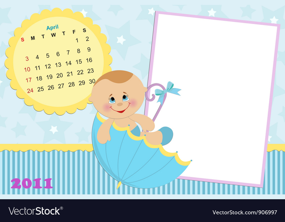 Babys calendar for april 2011 vector | Price: 1 Credit (USD $1)