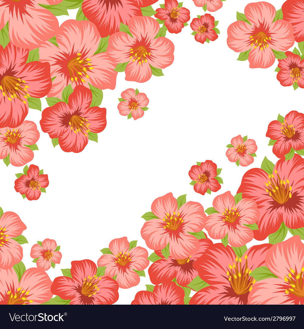 Background or card with pretty stylized flowers vector | Price: 1 Credit (USD $1)