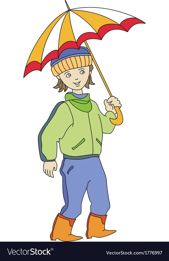 Boy with umbrella vector | Price: 1 Credit (USD $1)
