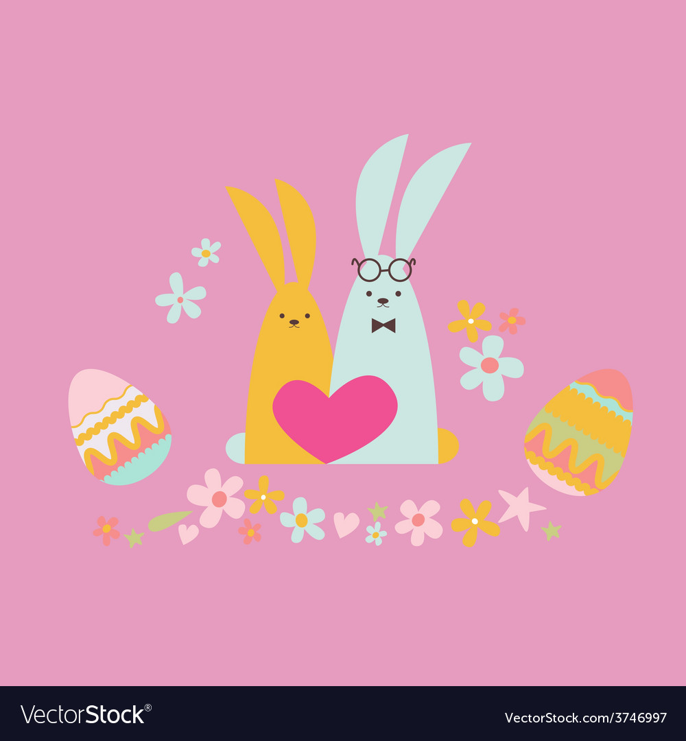 Easter card with rabbits in love vector | Price: 1 Credit (USD $1)