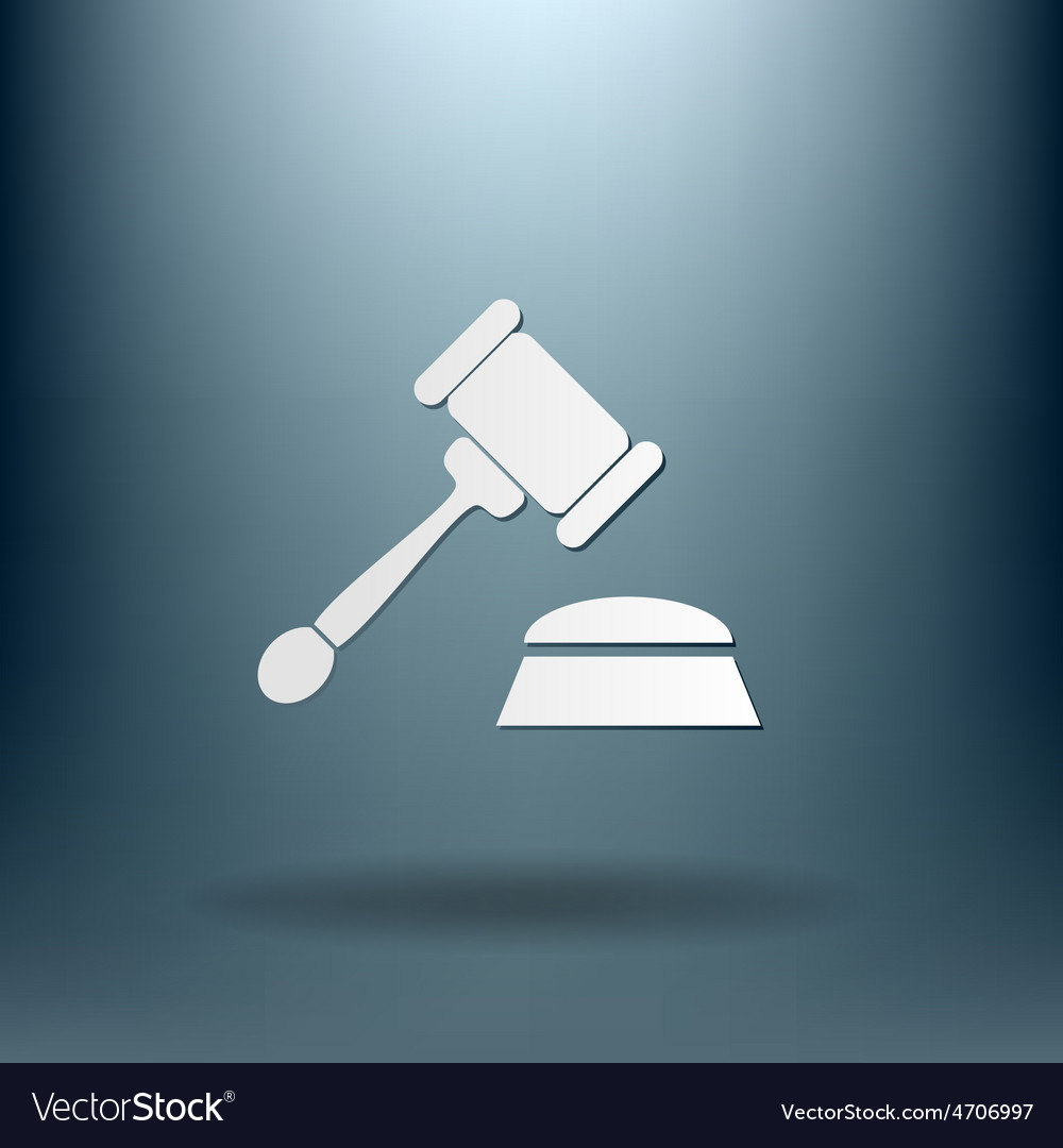 Gavel icon law symbol of justice and judgment vector | Price: 1 Credit (USD $1)