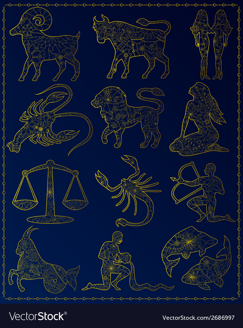 Golden zodiac signs vector | Price: 1 Credit (USD $1)