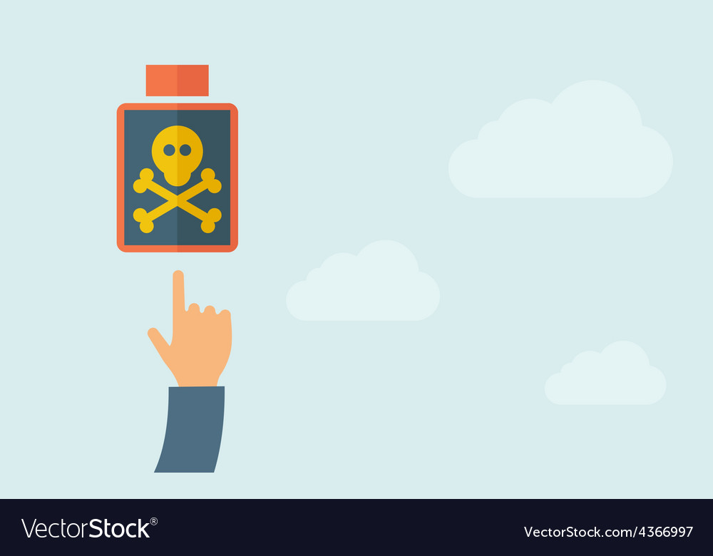 Hand pointing to a poisonous bottle icon vector | Price: 1 Credit (USD $1)