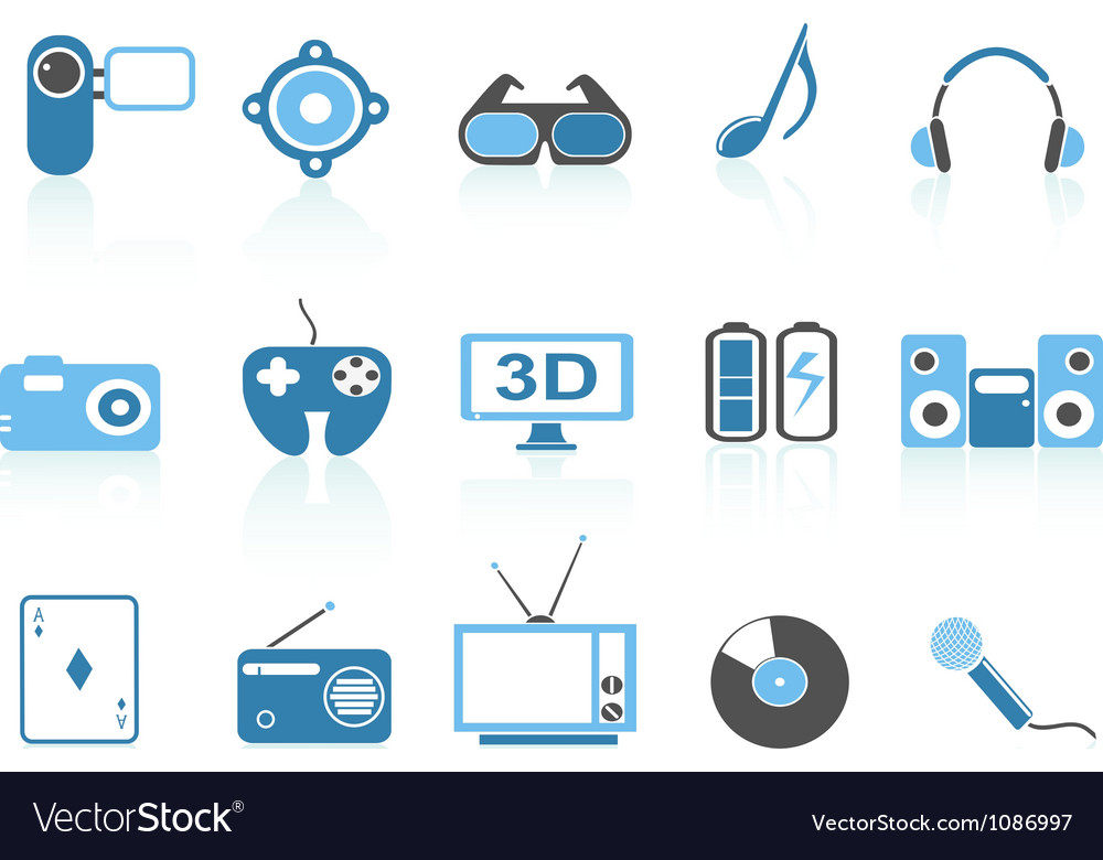 Media entertainment icons blue series vector | Price: 1 Credit (USD $1)