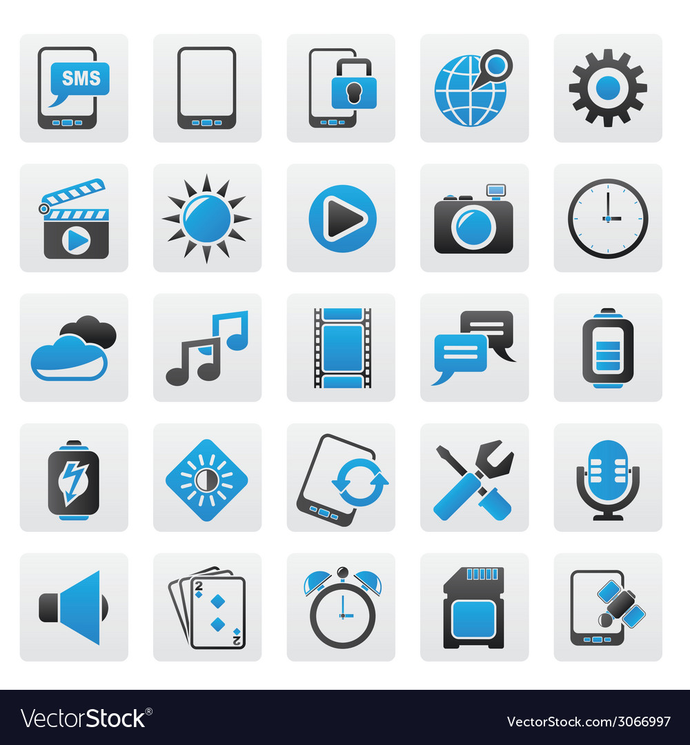Mobile phone interface icons vector | Price: 1 Credit (USD $1)