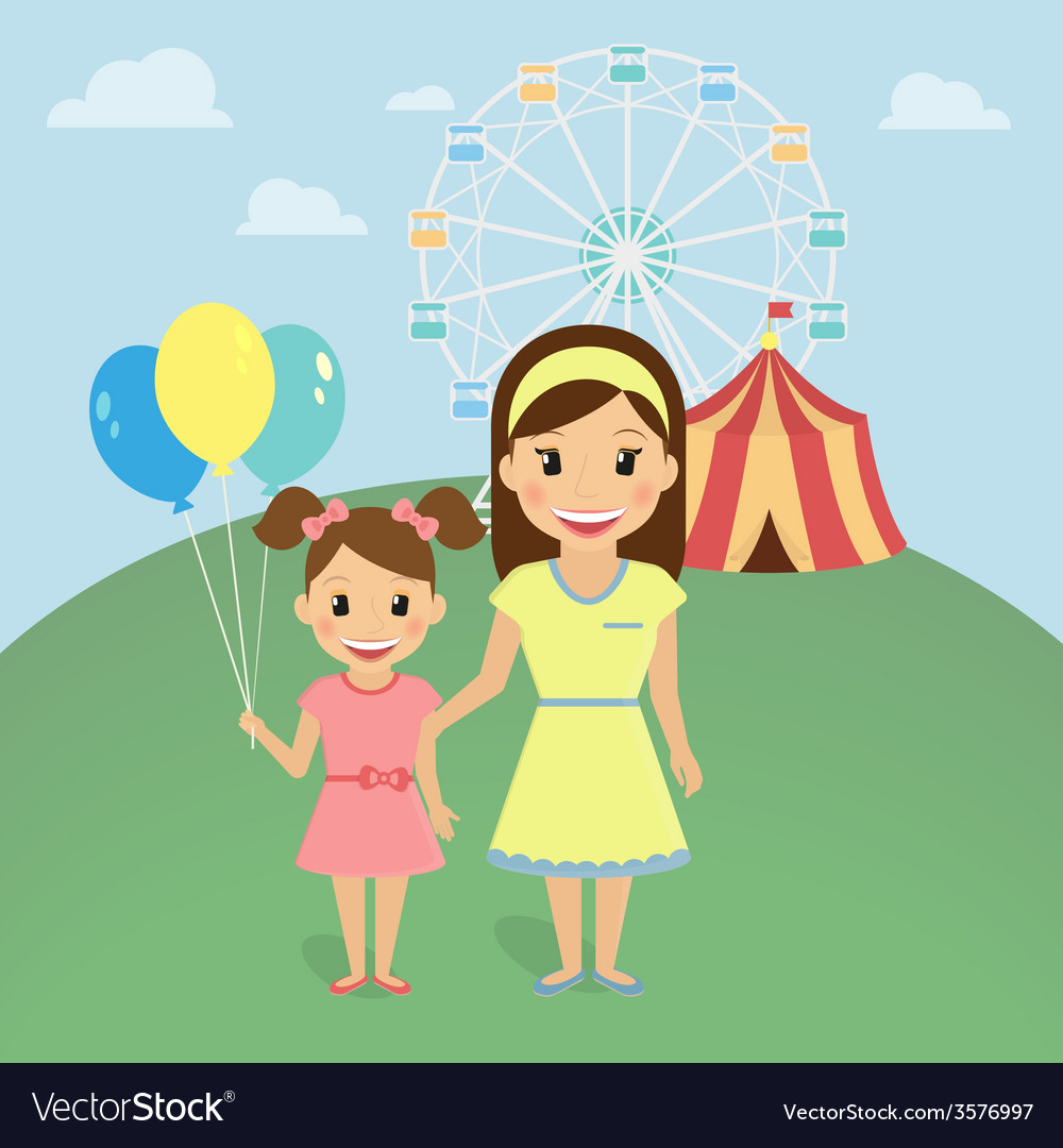 Mom with little daughter vector | Price: 1 Credit (USD $1)