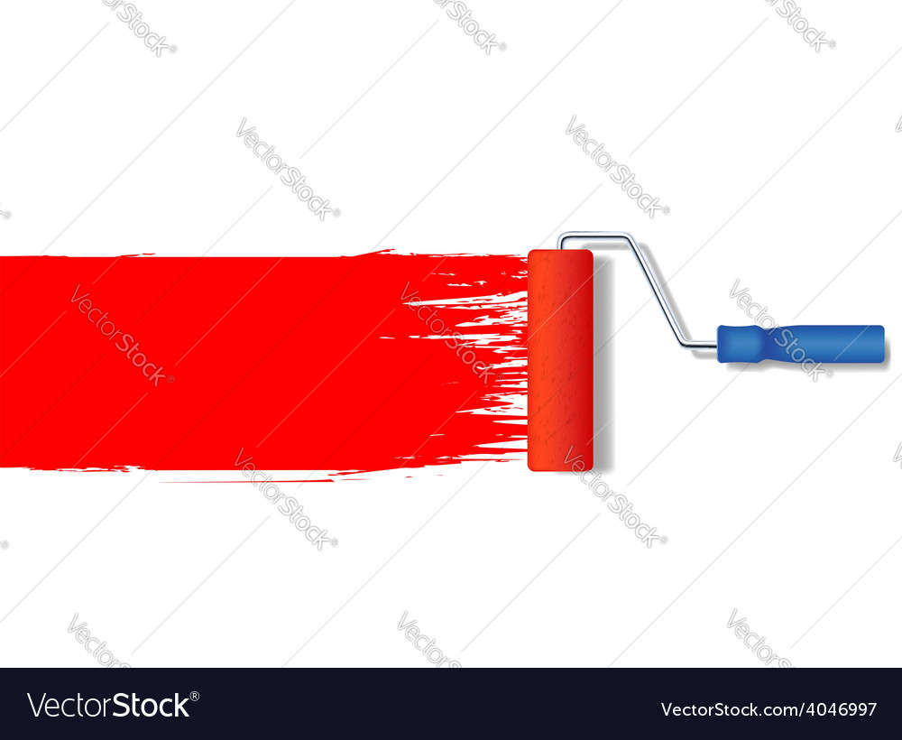 Realistic paint roller painting a red line vector | Price: 1 Credit (USD $1)